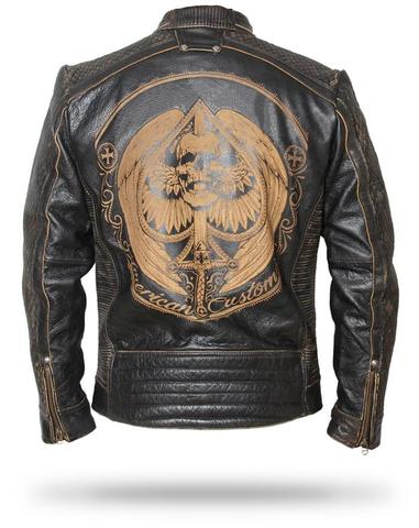Skull Leather Jacket Mens