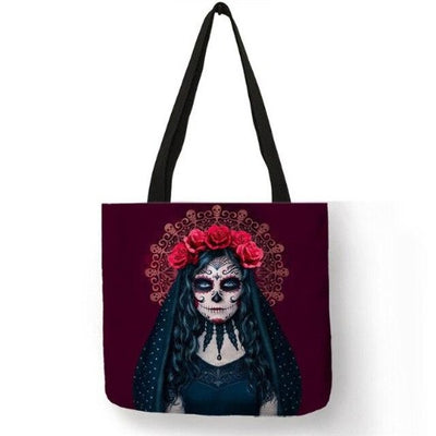 Skull Tote Bag Red