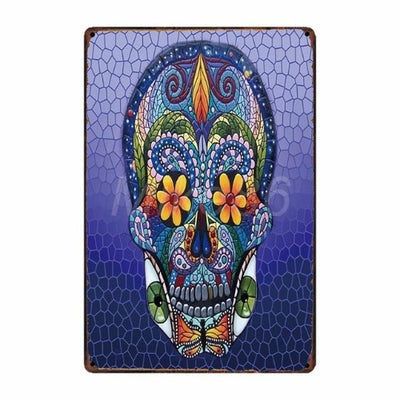 Stained Glass Skull Poster