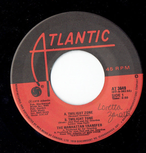 The Manhattan Transfer - Twilight Zone / Body And Soul (45-Tours Usagé)