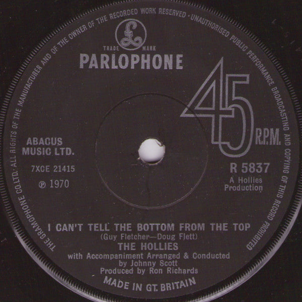 The Hollies - I Cant Tell The Bottom From The Top (45-Tours Usagé)