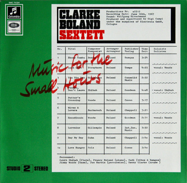 Clarke Boland Sextet - Music For The Small Hours (Vinyle Neuf)
