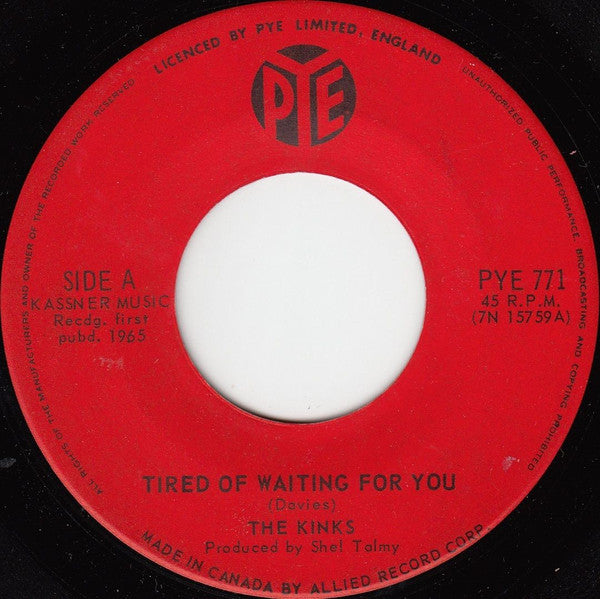 The Kinks - Tired Of Waiting For You / Come On Now (45-Tours Usagé)