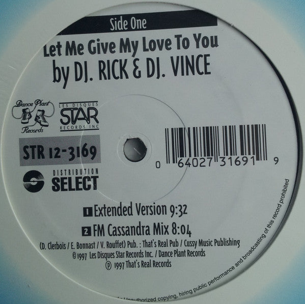 "Rick Restanques And Vince ""little Prince"" Low Society - Let Me Give My Love To You / Nation Of Love (Vinyle Usagé)"
