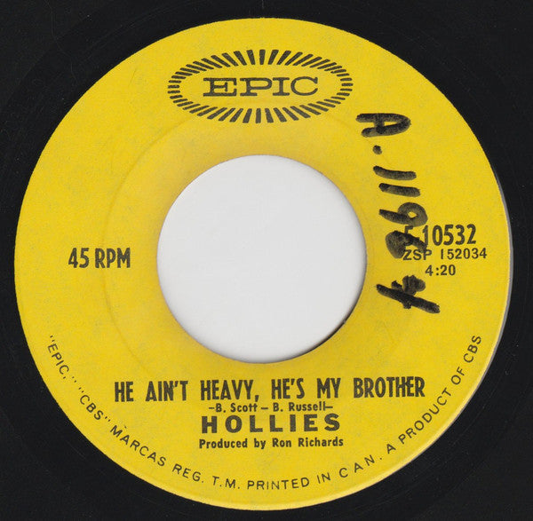 The Hollies - He Aint Heavy Hes My Brother (45-Tours Usagé)