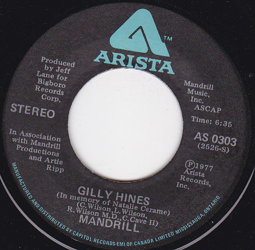 Mandrill - Gilly Hines (in Memory Of Natalie Cerame) / Holiday (45-Tours Usagé)