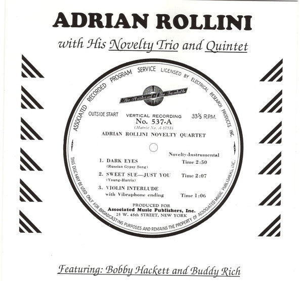 Adrian Rollini - Novelty Trio And Quintet (CD Usagé)