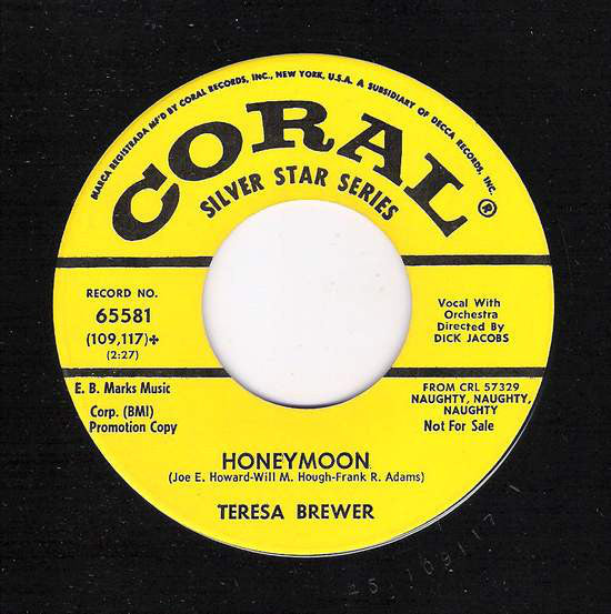 Teresa Brewer - Honeymoon / When You Wore A Tulip (45-Tours Usagé)