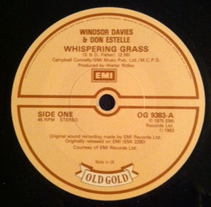 Windsor Davies And Don Estelle / Clive Dunn - Whispering Grass / Grandad (45-Tours Usagé)