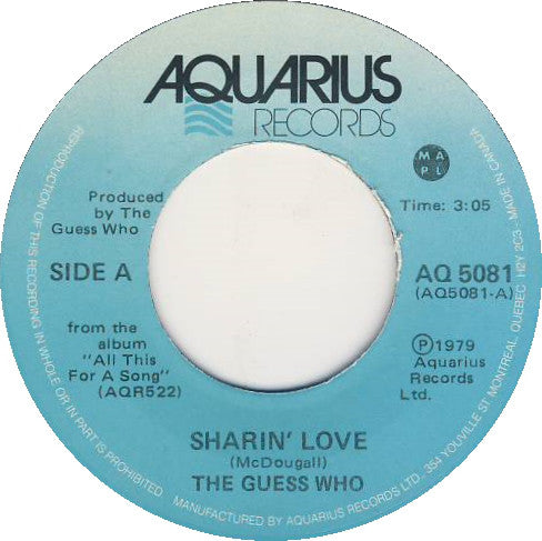 The Guess Who - Sharin Love / Taxman (45-Tours Usagé)