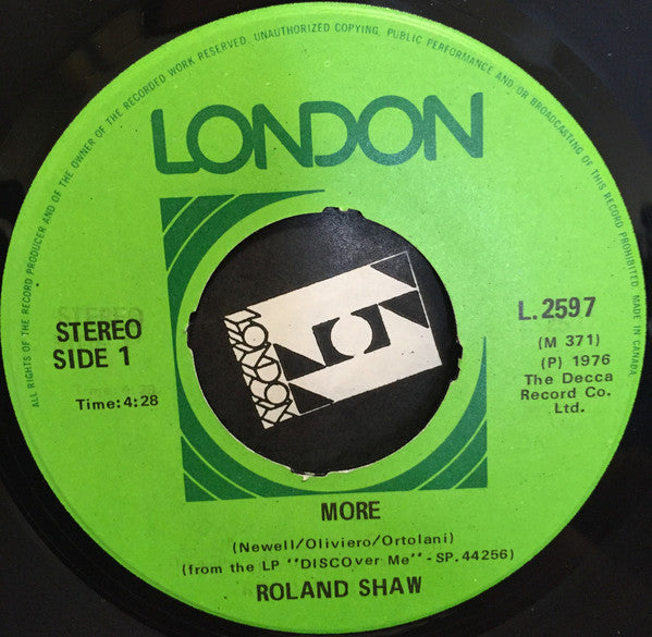 The Roland Shaw Orchestra - More / How High The Moon (45-Tours Usagé)