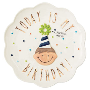 Plate Birthday Boy Candle