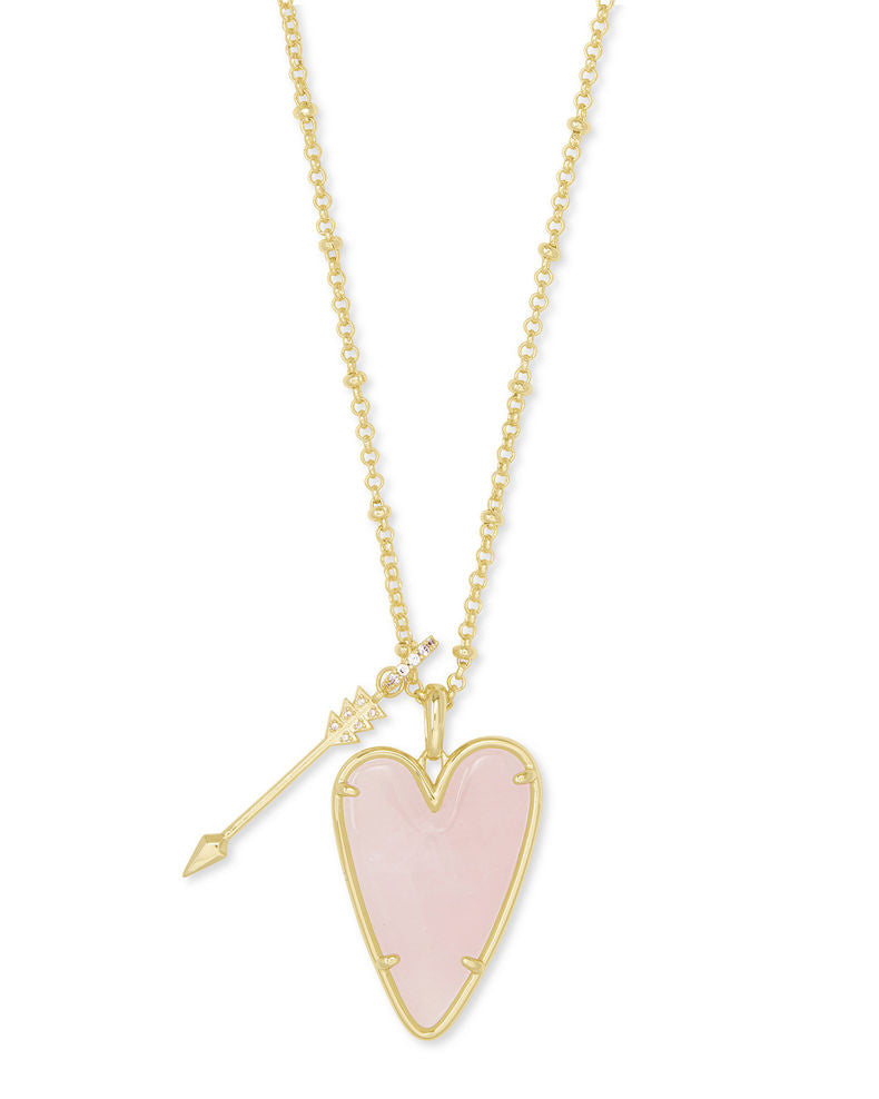 Necklace Ansley Heart Rose Quartz