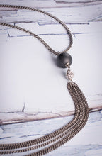 "Load image into Gallery viewer, Necklace Reclaimed Stainless With Hematite And Pave   Reclaimed Stainless Chain Brushed Hematite/PaveCrystal Lariat 32"" Length"