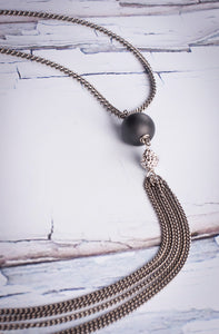 "Necklace Reclaimed Stainless With Hematite And Pave   Reclaimed Stainless Chain Brushed Hematite/PaveCrystal Lariat 32"" Length"