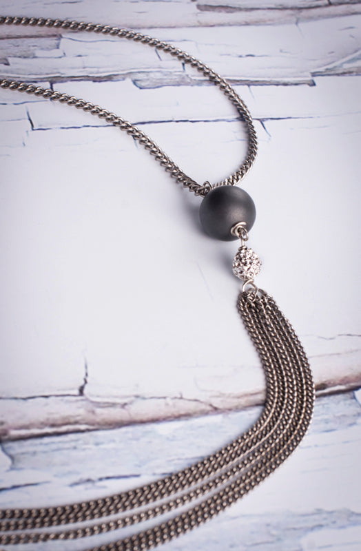 Necklace Reclaimed Stainless With Hematite And Pave   Reclaimed Stainless Chain Brushed Hematite/PaveCrystal Lariat 32