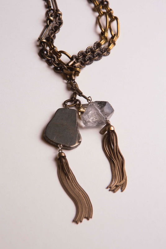Necklace Pyrite Herkimer QuBook Artz Long Lariat