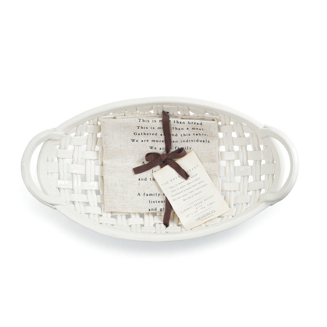 Bread Basket Ceramic With Towel
