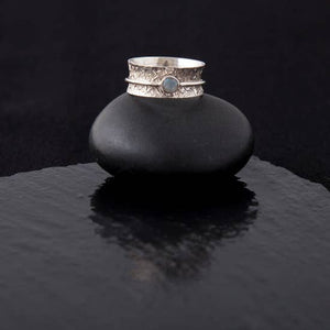 Ring Silver Meditation Ring Single Moonstone Ring Size 8 SSR031M