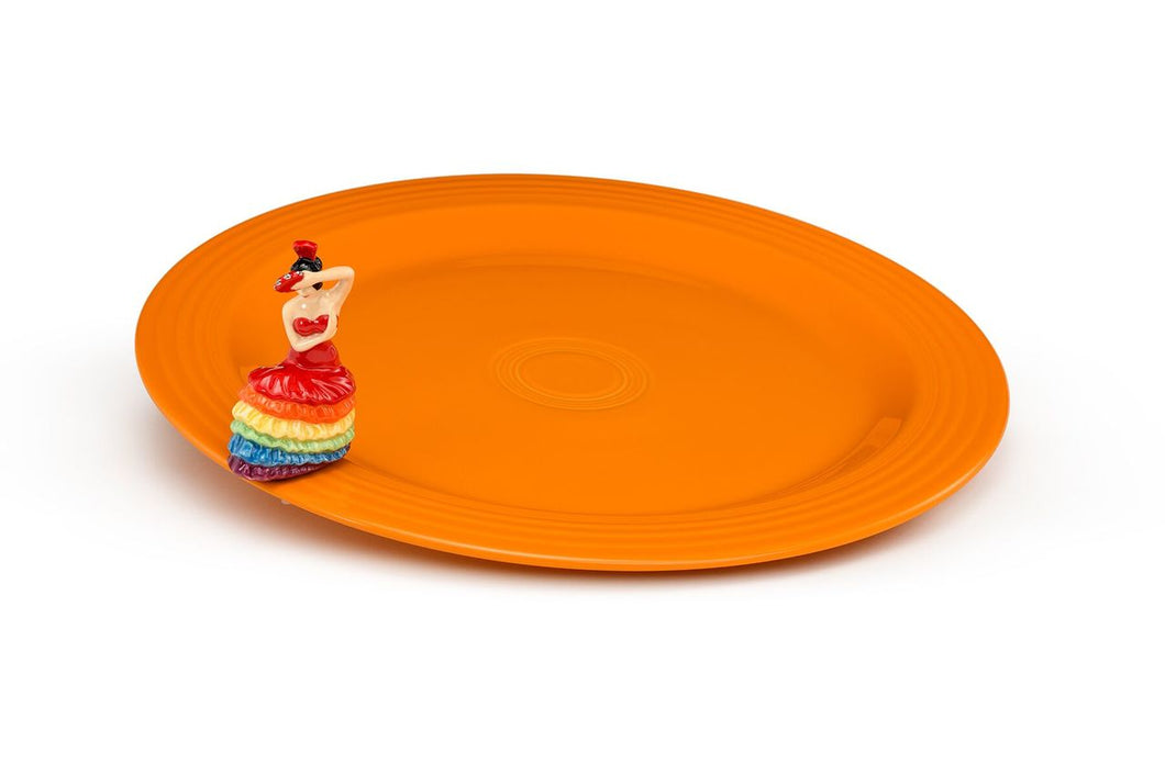 Nora Fleming Fiestaware Round Platter With Fiesta Dancing Mini