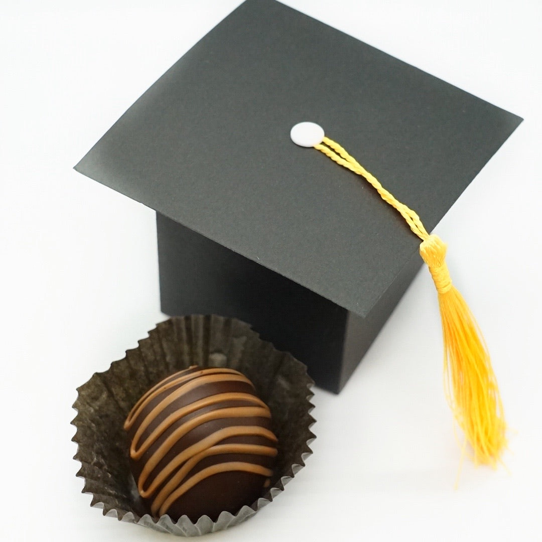 Graduation Hat Truffle Box with a Hand Dipped Chocolate Truffle