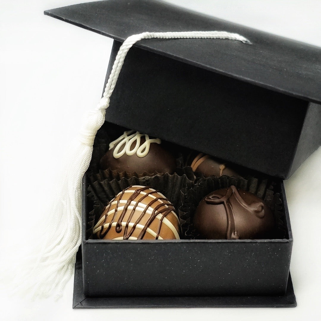 Graduation Hat Gift Box with Four Hand Dipped Truffles