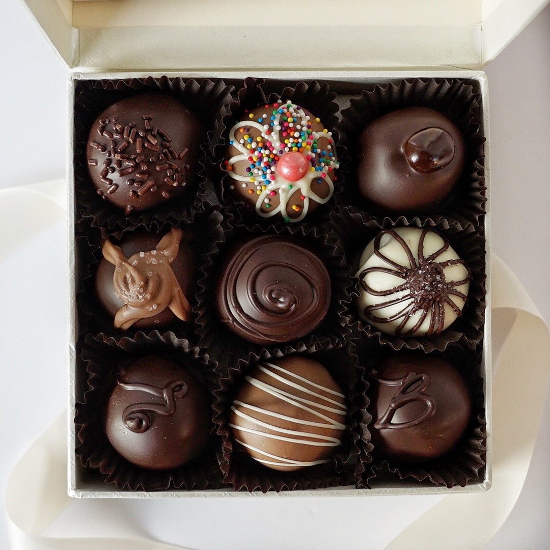 9 Piece Box of Hand dipped Chocolate Truffles