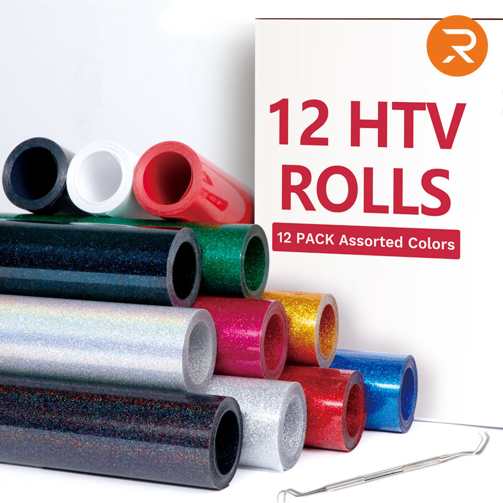 HTVRONT Glitter HTV Vinyl Bundle - 10'' x 5' Glitter Iron on Vinyl 9 Rolls & 12'' x5' HTV Vinyl 3 Rolls 12 Assorted Colors 12 Rolls Heat Transfer Vinyl for Cricut & Silhouette Cameo - Easy to Cut & Weed - for Heat Press T-Shirts