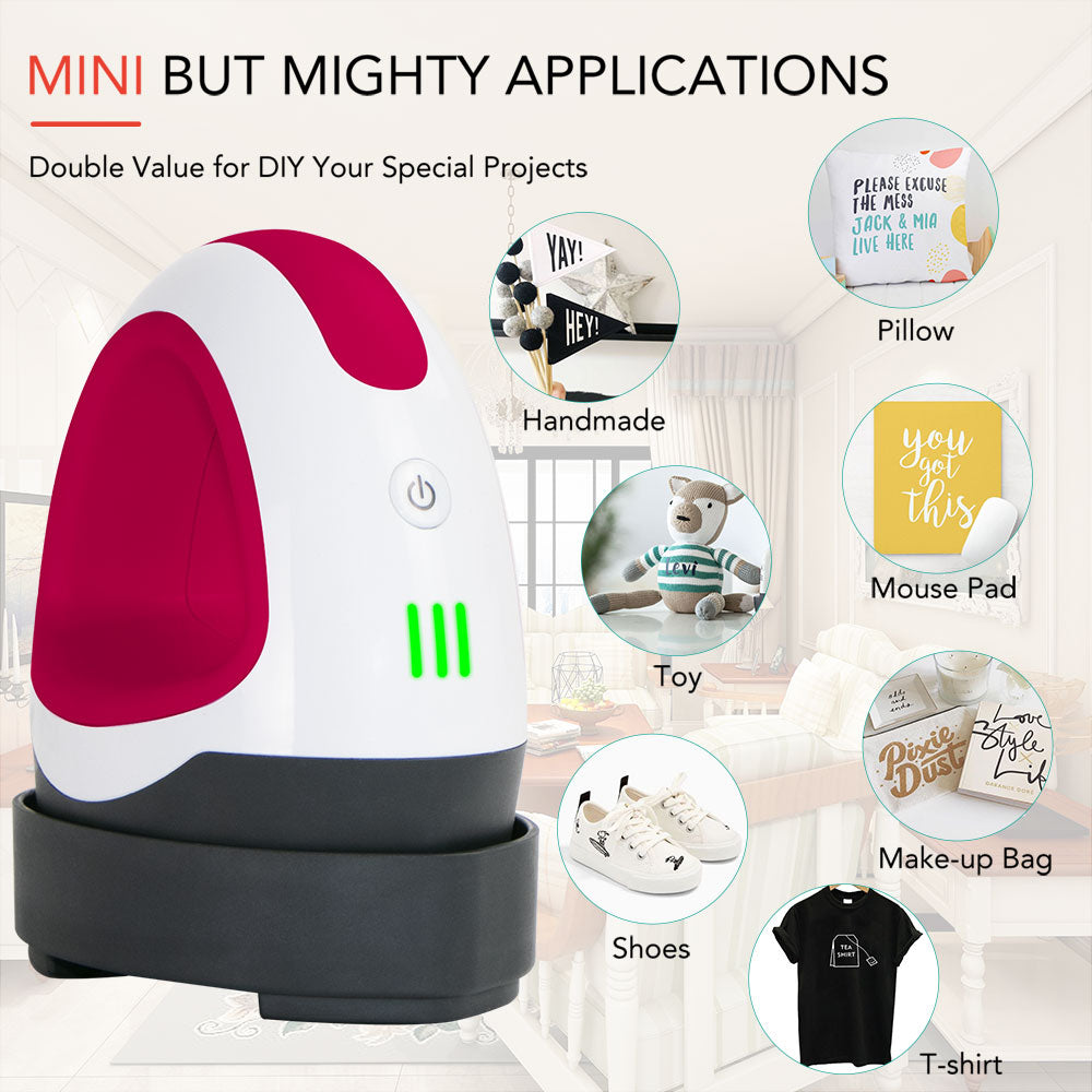 HTVRONT Easy Press Raspberry Red Mini Heat Press Machine for HTV Vinyl Projects & Heating Transfer (4 Colors Available)