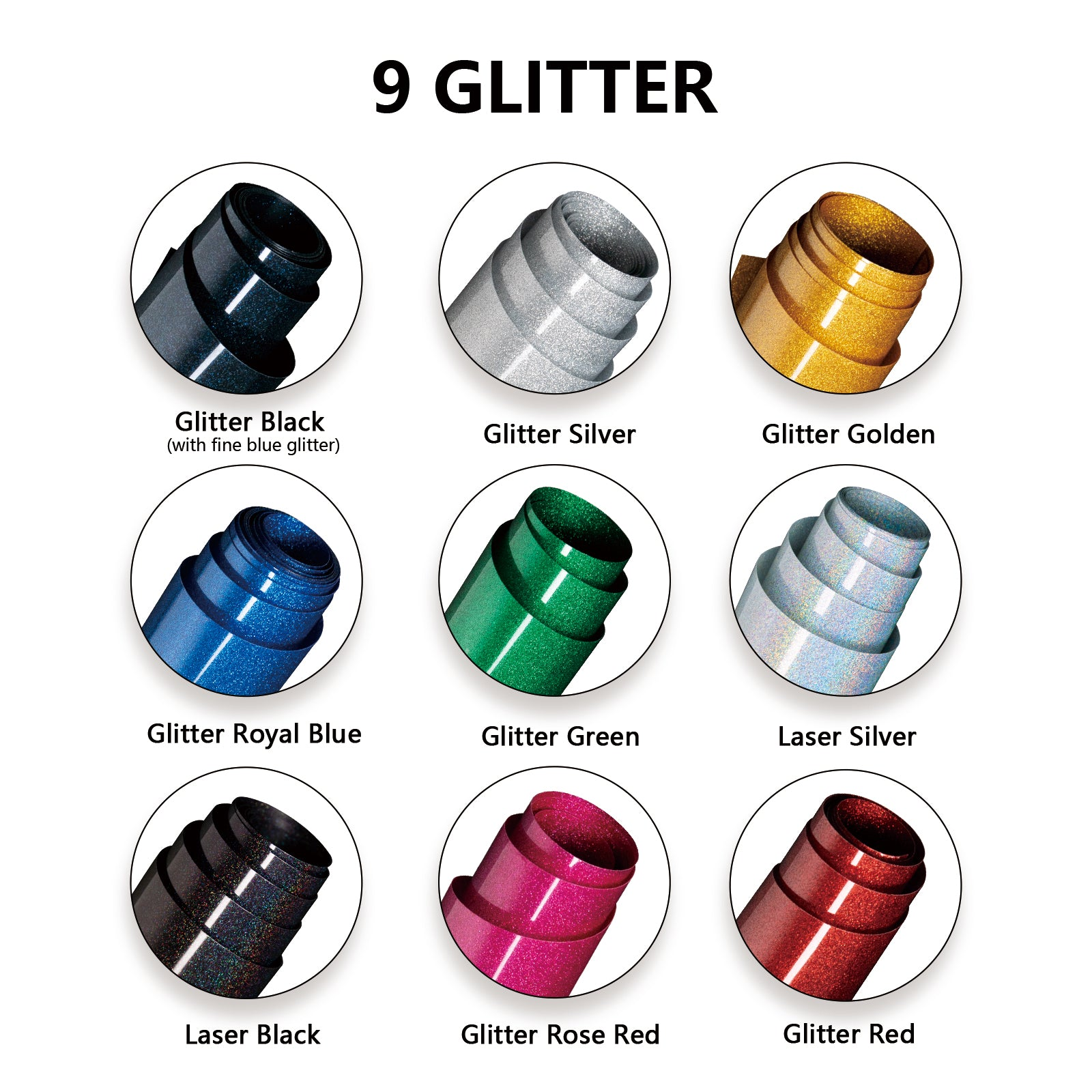 HTVRONT Glitter HTV Vinyl Bundle - 10'' x 5 FT Glitter Iron on Vinyl 9  Assorted Glitter Heat Transfer Vinyl Rolls for Cricut & Silhouette Cameo - Easy to Cut & Weed - for Heat Press for Iron on Vinyl T-Shirts