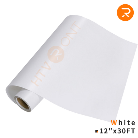 "HTVRONT Adhesive Vinyl Roll - White Permanent 12"" x 30 FT Adhesive Vinyl for Cricut & Silhouette Cameo - Easy to Cut & Weed for Cups, Glasses, Etc."
