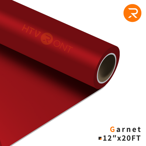 "HTVRONT HTV Vinyl Roll - 12"" x 20 Ft Garnet Heat Transfer Vinyl for Cricut & Silhouette Cameo - Easy to Cut & Weed (36 Colors Available)"