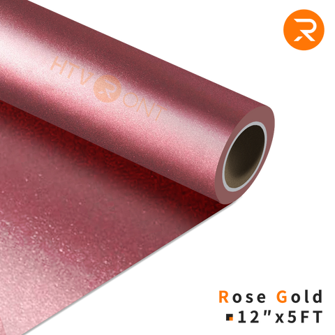 "HTVRONT HTV Vinyl Roll - 12"" x 5 Ft Rose Gold Heat Transfer Vinyl for Cricut & Silhouette Cameo - Easy to Cut & Weed (36 Colors Available)"