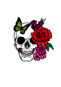 Free SVG File for Download - Skull with Rose