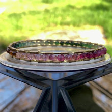 Load and play video in Gallery viewer, Tourmaline Spectrum Gold Bangle