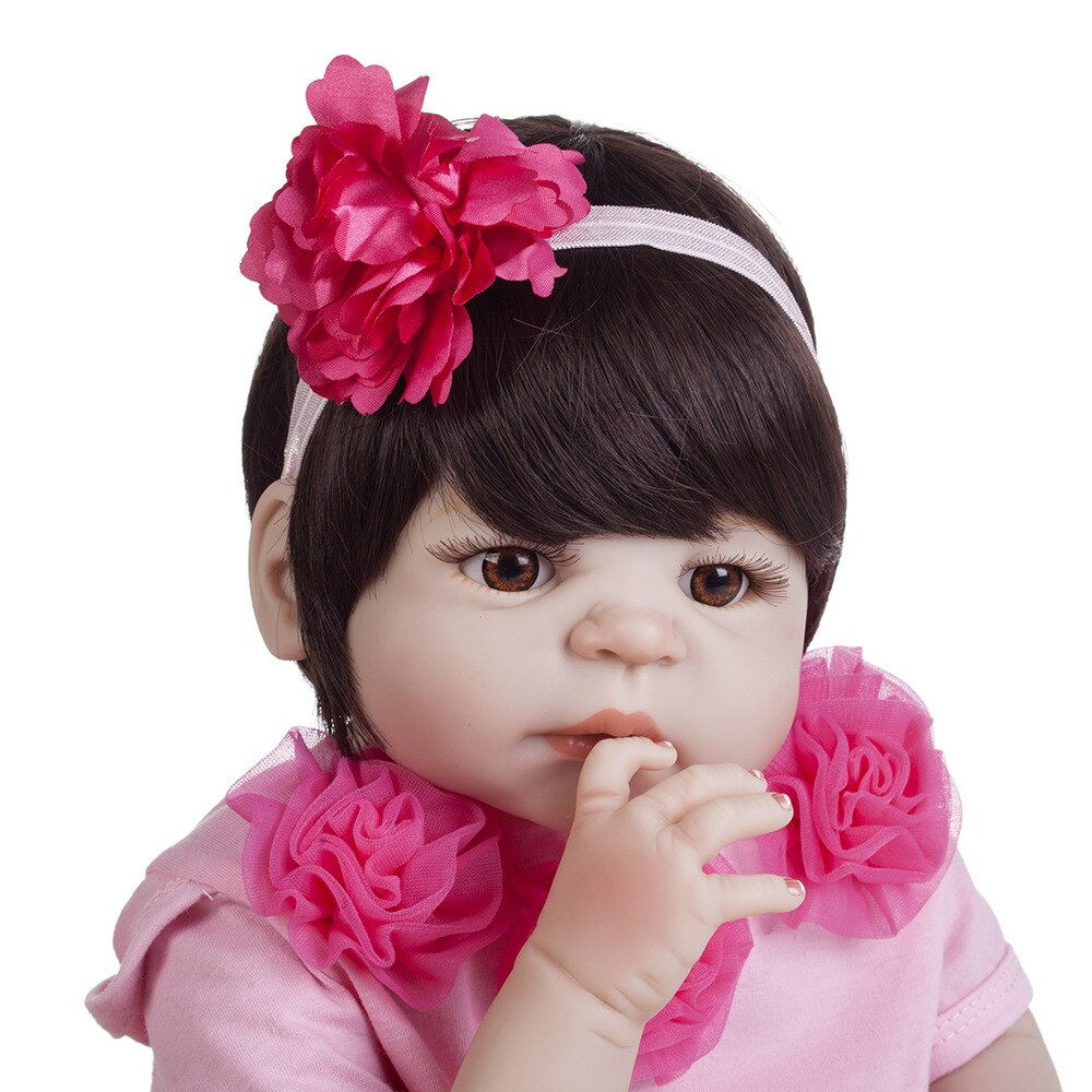 22'' Fashion Silicone Reborn Baby Dolls Full Body Vinyl Realistic Washable Reborn Baby Girl For Kids Birthday Gifts Doll