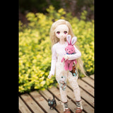 BYBJDHOME New BJD SD Doll Clothes set Bib + pink and white striped T-shirt