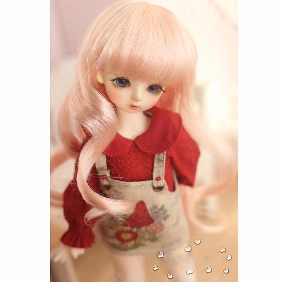 Bybrana 1/3 1/4 1/6 1/8 bjd doll big wave imitation mohair long curly wigs curled golden goddess hair