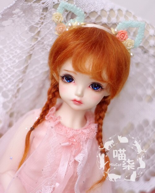 Bybrana BJD doll with wig 1/3 1/4 1/6 1/8 1/12 mohair radish red braid hair