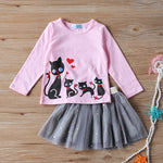 2019 Girls Sets Toddler Girl Clothes Fall Childrens Clothing Lace Vest + Mesh Striped Skirt Suit Todler Girl Clothes