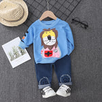 Fall Childrens Clothes Sets For Toddler Little Boys Baby Girls Cartoon Lion Sweater Jeans Casual Pants Set Kids Clothing Outfits