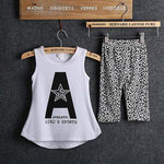 2015 Kids Baby Girls Summer Clothes Set 2pcs Suit Letter Print Tops And Leopard Pant Sleeveless Childrens Clothing Sets