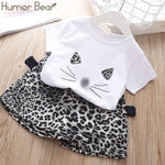 Humor Bear 2019 Summer Fashion Brand New Girls' Clothing Children's Clothes Animal Cotton T-Shirt + pants Baby Kids Clothing Set
