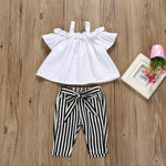 Summer Boutique Baby Girls Clothing Outfits Kids Childrens Bow Lace Halter Striped T shirt Tops+Pants Outfit Clothes Set 2019