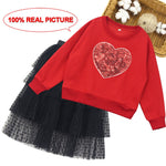 Teen Girls Clothing Heart Pattern Girls Outfits Sequin Swetashirt + Skirt Kids Clothes Girls Teenage Children's Clothes Set