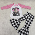 Childrens fall baby girl clothes outfits cow heifer t shirts with bell bottom pants kids boutique clothing Fornite