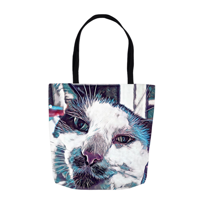 Sir Nibbler the Dapper Cat Tote Bag - Shopping Bag - Beach Bag personalized gifts custom gift idea Expanded Perspective