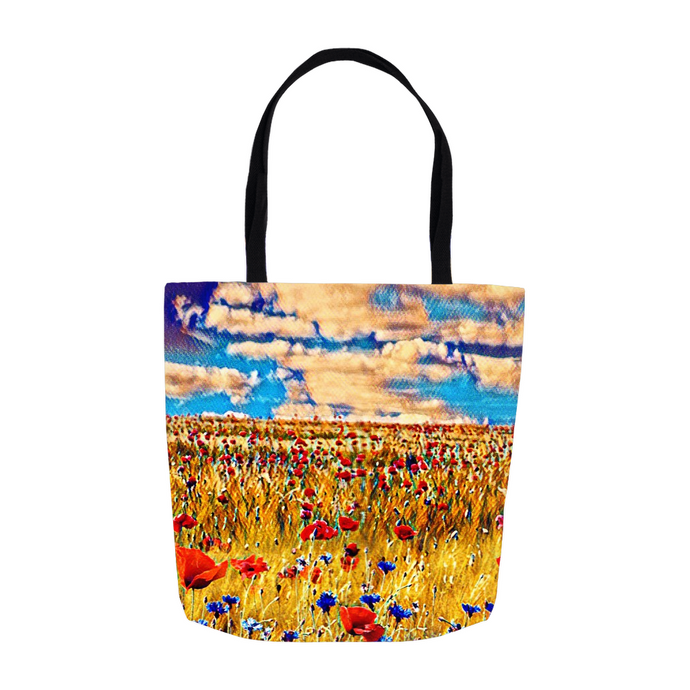 Poppy Field Canvas Tote Bag - Shopping Bag - Beach Bag personalized gifts custom gift idea Expanded Perspective