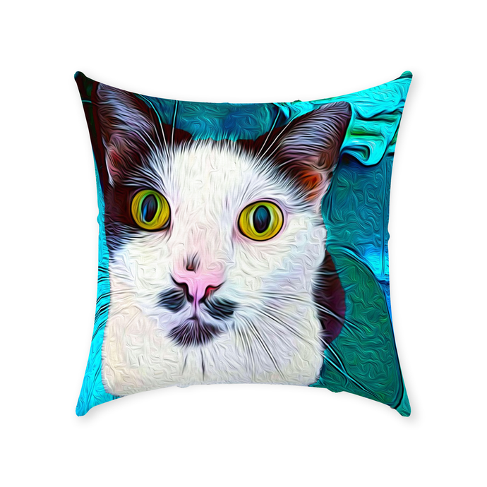 Curious Kitty Throw Pillow - Couch Pillow - Sir Nibbler personalized gifts custom gift idea Expanded Perspective