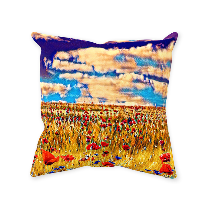 Poppy Field Throw Pillow - Home Decor - Couch Pillow personalized gifts custom gift idea Expanded Perspective
